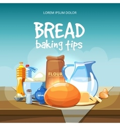 Food baking ingredients background vector