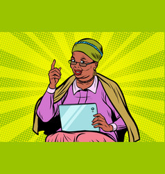 african elderly woman with a tablet vector image