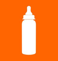 Baby bottle symbol white icon vector