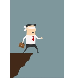 Blindfolded businessman about to fall from cliff vector image