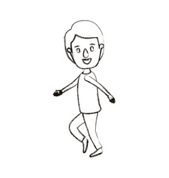 Blurred silhouette caricature full body guy with vector