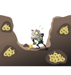 Businessrobot dig money 2 vector