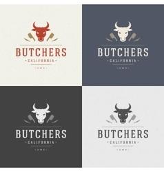 Butcher shop design element in vintage style for vector