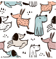 Childish seamless pattern with hand drawn dogs vector