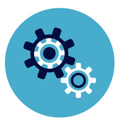 cog wheel icon on round blue background vector image