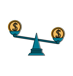 Coin on balance scale money icon image vector
