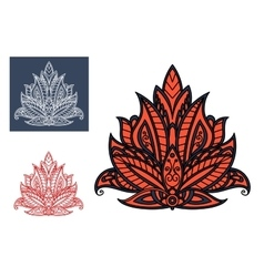 Dainty red persian paisley flower element vector