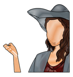 Drawing woman faceless fashion hat hairstyle vector