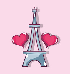 Eiffel tower with heart design decoration vector