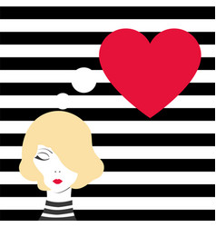fashion girl dreaming of love vector image vector image