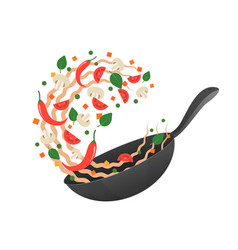 Flipping asian noodles in pan vector