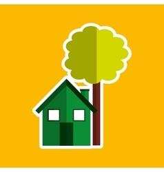 Green house tree ecological design vector