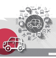 Hand drawn car icons with icons background vector image