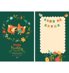 Happy birthday card with cute foxes in wreath vector image