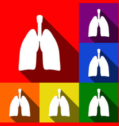 Human organs lungs sign set of icons with vector