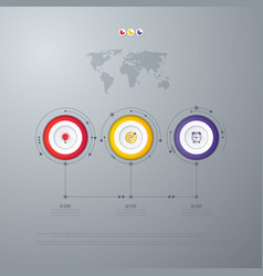 infographics template 3 options with circle vector image vector image