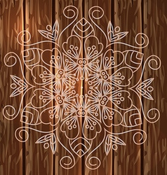 Mandala wooden background vector