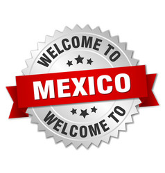 mexico 3d silver badge with red ribbon vector image vector image