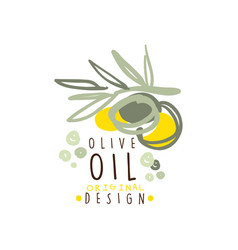 olive oil label with a branch of olives hand drawn vector image vector image