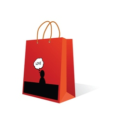 paper bag with love icon color vector image vector image