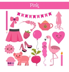 Pink learn the color education set of primary vector