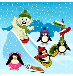 Polar bear and penguin on an ice slide vector