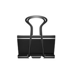 Realistic black paper binder clip vector