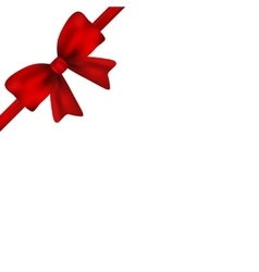 Red gift bow of ribbon isolated on white vector image