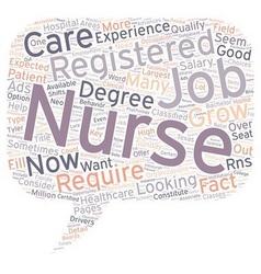 Registered nurse jobs text background wordcloud vector