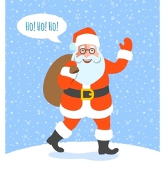 Santa claus with christmas gifts goes to kids vector