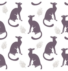 Seamless cat silhouette vector