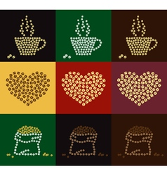 Set of coffee bean in coffee cup heart shape vector image vector image