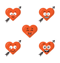 Set of flat cute emoji heart faces with arrow vector