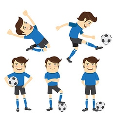 Set of Funny soccer football player wearing blue vector image vector image