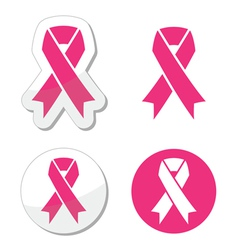 Set of pink ribbons symbols for breast canc vector