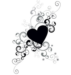 vector black heart vector image vector image
