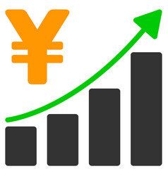 yen growth graph flat icon vector image