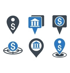 Bank location flat icons vector