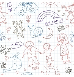 Kids drawings doodle seamless pattern vintage vector