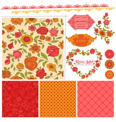 Scrapbook design elements - orange flowers vector