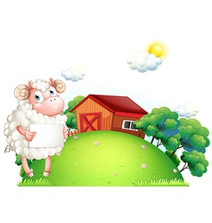 A sheep holding an empty paper in front of a barn vector image