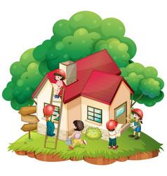 Children building little house vector