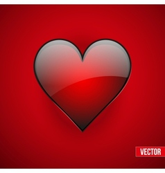 Red realistic heart valentines day card vector