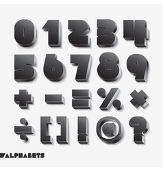 3d alphabet number black color vector