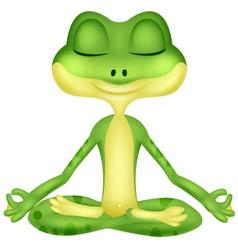 Frog cartoon doing yoga vector image