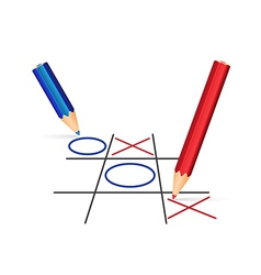 Two pencils playing tic-tac-toe vector