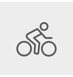 Sport bike and rider thin line icon vector
