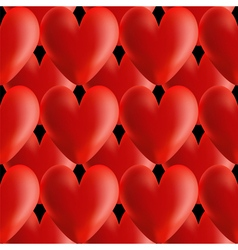 Design seamless red volumetric hearts pattern vector