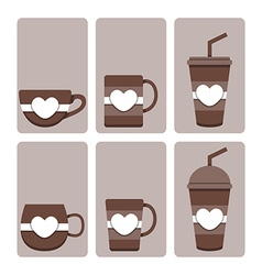 Set of cute coffee cup vector