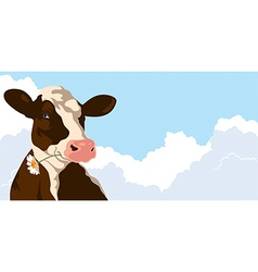 Cow and clouds vector